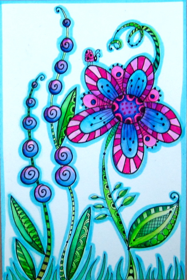 Zentangle marie browning for Garden party flower designs to color